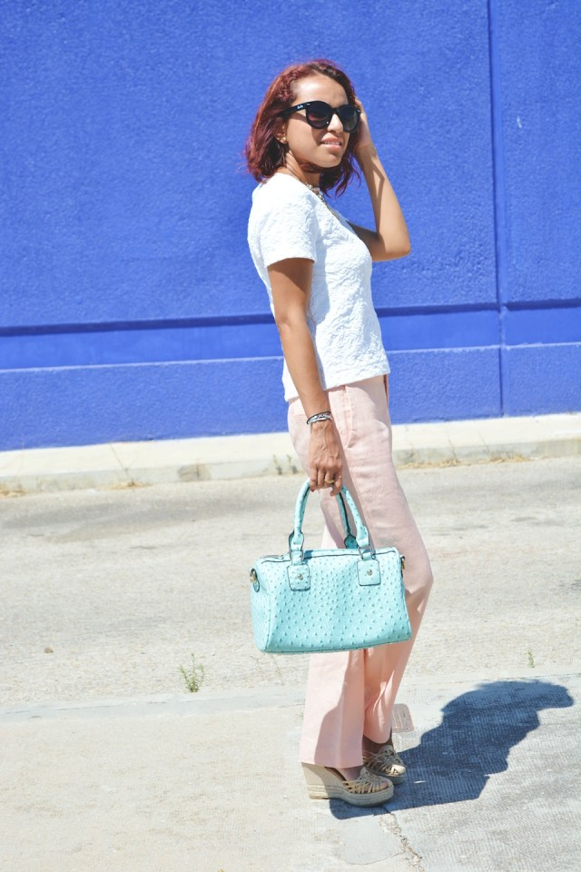 Pantalón rosa cuarzo y turquesa 6