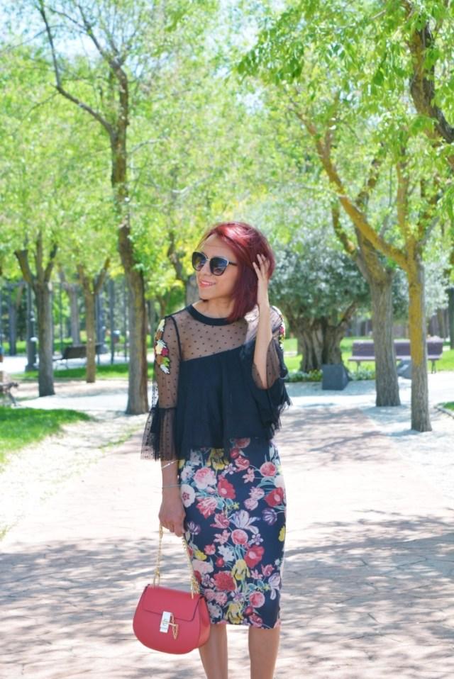 Top tul y falda flores