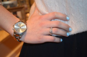 """watch: marley lilly classic round faced watch ring: dogeared """"daughter"""" ring nail color: borrowed and blue by essie"""