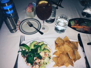 tequila and lime shrimp ceviche with chili dusted tortilla chips