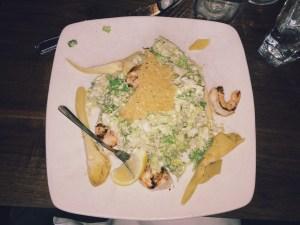 marinated artichoke caesar with grilled shrimp and fresh lemon *heart eyes emoji*