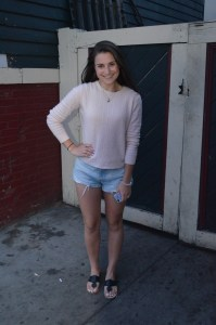 sweater: valerie petite cashmere cable knit sweater shorts: abercrombie high rise festival shorts shoes: jack rogers palm beach sandal in black patent