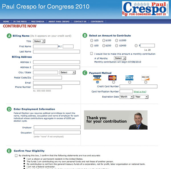 Paul Crespo for Congress 2010 - Donation page