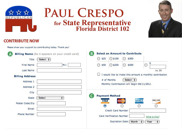 Paul Crespo for State Representative 2011 - Donation page