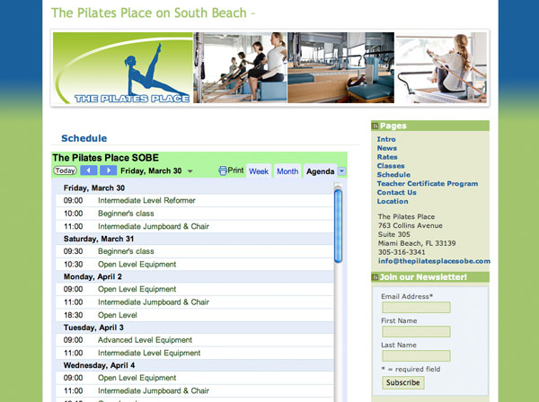 The Pilates Place - class schedule, calendar page