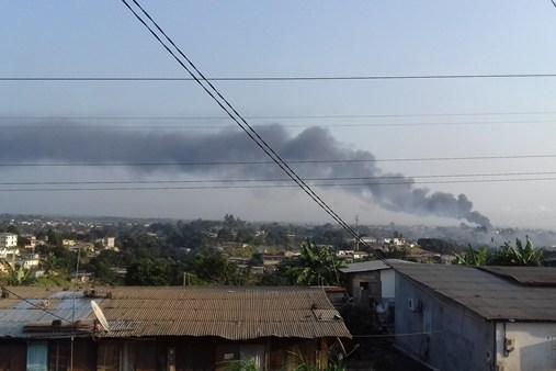 Urgent : incendie au port d'Antarès dans la périphérie de Libreville