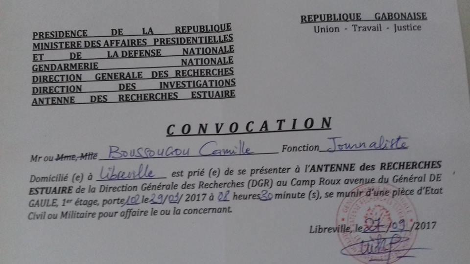 Le journaliste de Gabonactu.com recherché par la DGR honorera sa convocation ce vendredi