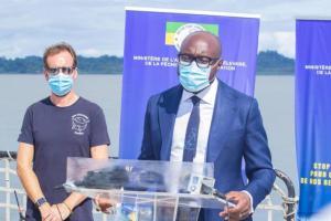 Le Ministre de la pêche Biendi Maganga Moussavou durant son allocution le 21 septembre à Libreville © Com MAEPA
