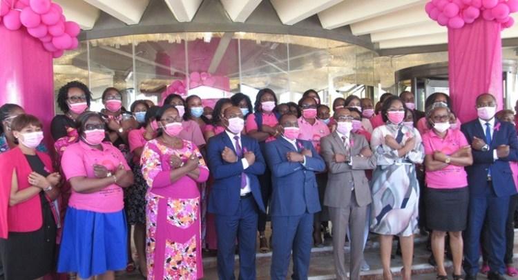 Le Ministre du Pétrole, Vincent de Paul Massassa et ses collaborateurs sous le signe de la lutte contre les cancers féminins posant pour la postérité le 22 octobre à Libreville © Gabonactu.com