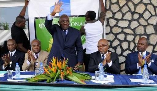 Le président de l'UN Zacharie Myboto, plébiscité par les pairs fondateurs du parti en 2010 © D. R
