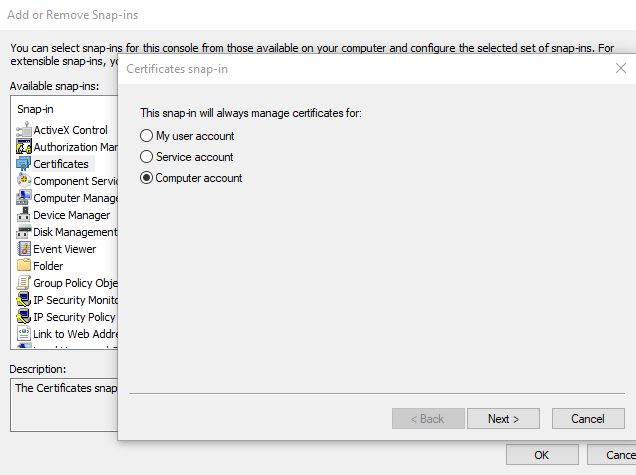 Change windows certificate