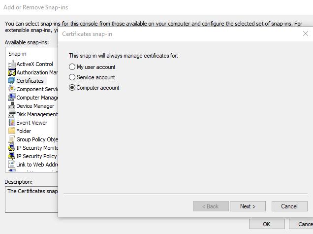 Change windows certificate