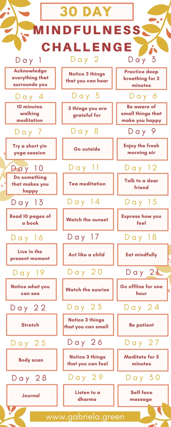Become More Mindful 30 Day Mindfulness Challenge