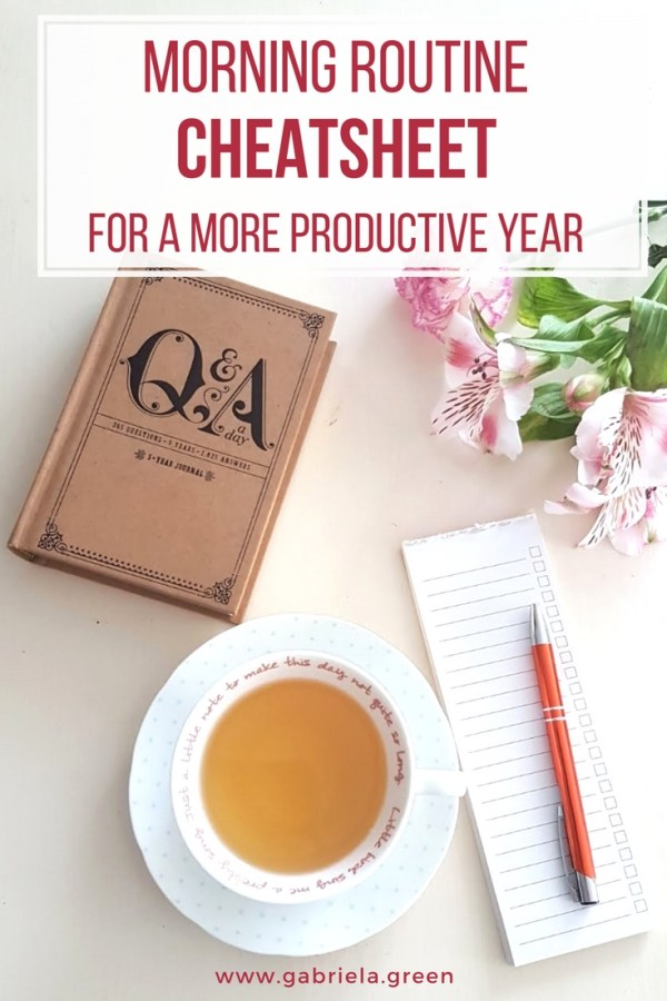 Morning routine cheat sheet for a more productive year _ www.gabriela.green