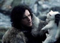 Jon Snow e o lobinho Ghost bem filhotinho