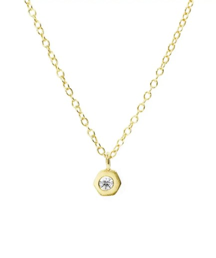 bezel set birthstone necklace