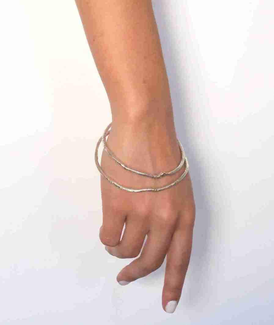 silver organic shape bangles