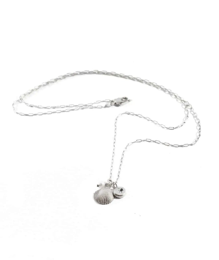 silver seashell and pearl necklace