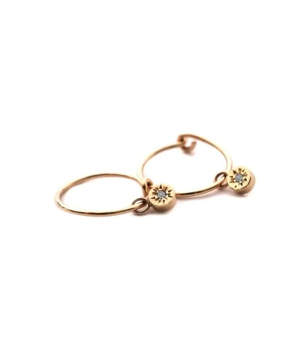 yellow gold charm mini hoops