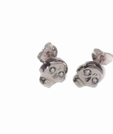 white gold skull stud earrings