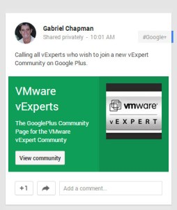 Yet another community to join, Google+ vExpert Community Page