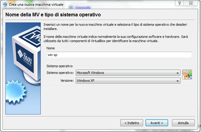 installare windows xp su virtual box (1/6)