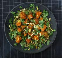 Salat Mungbohnen Kürbis Koriander