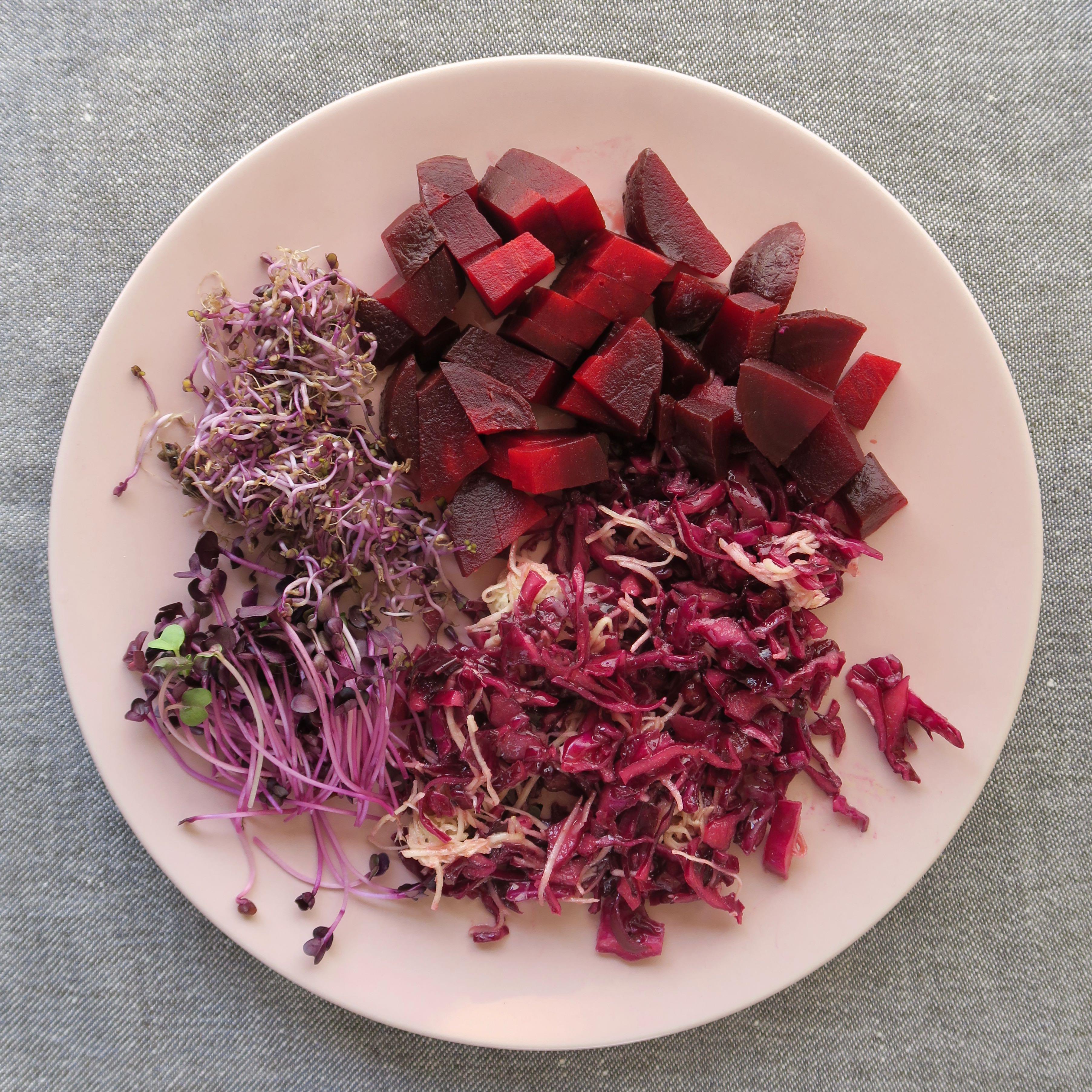 Scharfer Rotkohlsalat mit Sprossen, Meerrettich und Preiselbeeren
