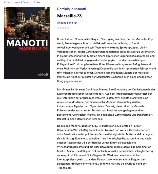 Dominique Manotti Marseille 73