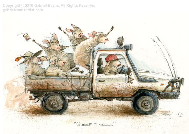 Sheep Thrills - Watercolour & Ink