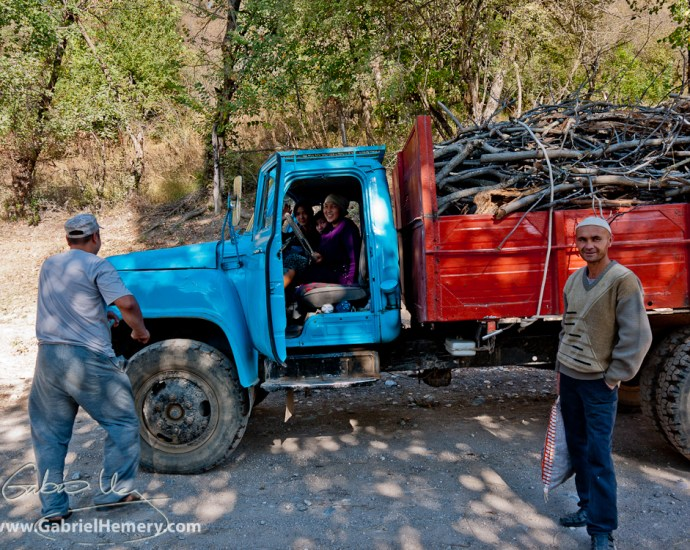 Collecting firewood, Kyrgyzstan