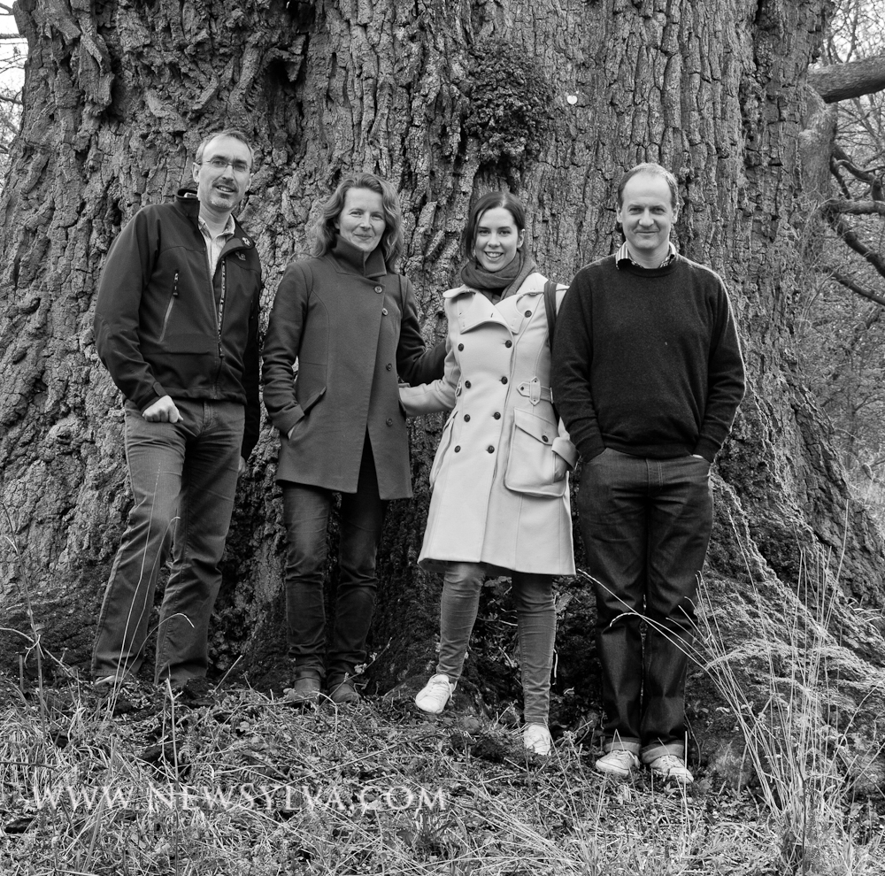 Authors (Gabriel Hemery & Sarah Simblet) with Editors from Bloomsbury (Natalie Hunt & Richard Atkinson) next to a 900 year old oak tree