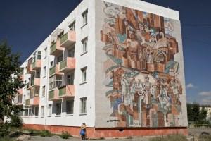 Sovjetiskt muralmåleri från Kazakstan