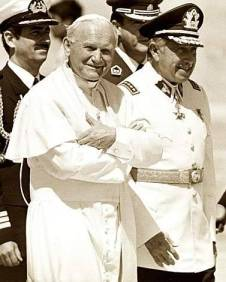 File photo of Pope John Paul II and former Chilean dictator Augusto Pinochet in Chile