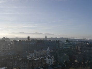 A breath taking view of Edinburgh overlooking the grass markets.