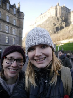 Lindsey and I in the grass market under Edinburgh Castle.