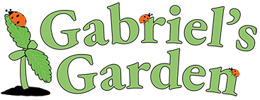 Gabriel's Garden organic sprout and lady bug logo