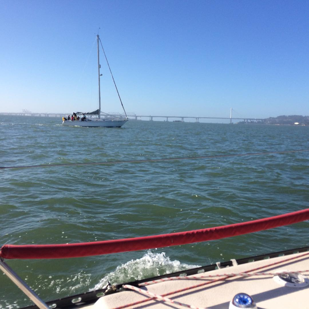 Ahi and Sea Star on our way to the start for OYRA Half Moon Bay race
