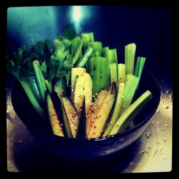 Celery cucumber veggie sashimi