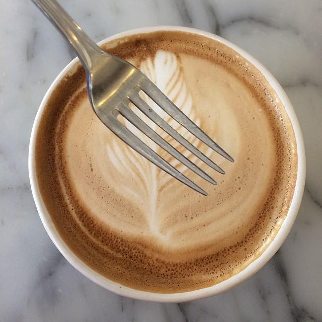 David photo bombed my latte!