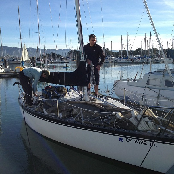 Getting ready to sail Mission:Impossible for a lovely BYC midwinters race.