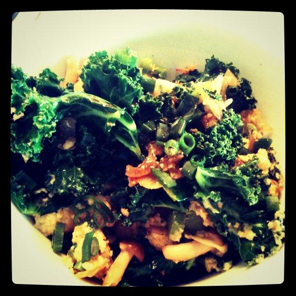 Kale mushroom & egg scramble