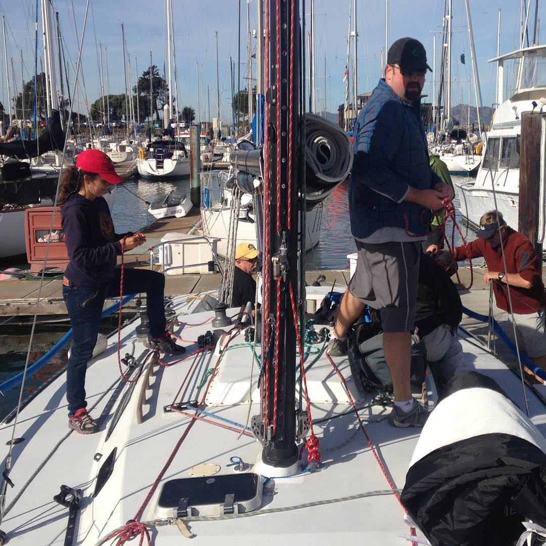 Rigging Stewball for day 1 of Express 37 Nationals