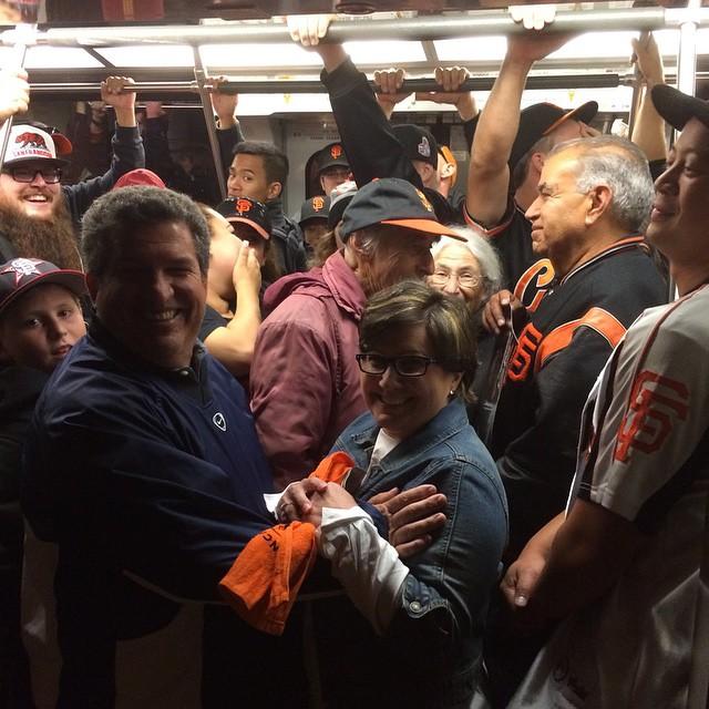 Train full of happy Giants fans. Sorry my STL peeps!  Great game tonight.