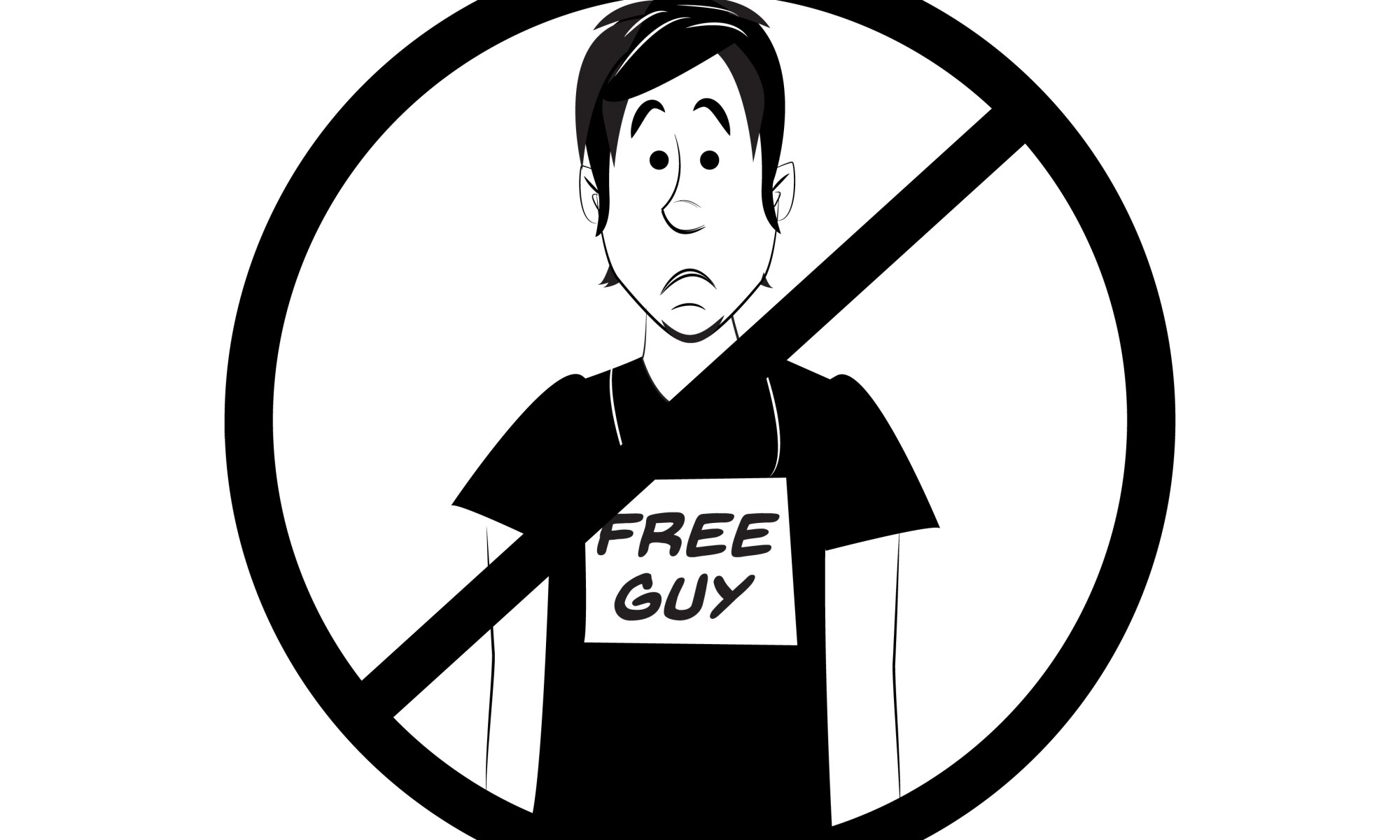 Cartoon of a man wearing a sign that says he works for free