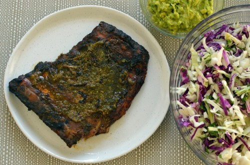 Chile verde pork ribs with Mexican slaw