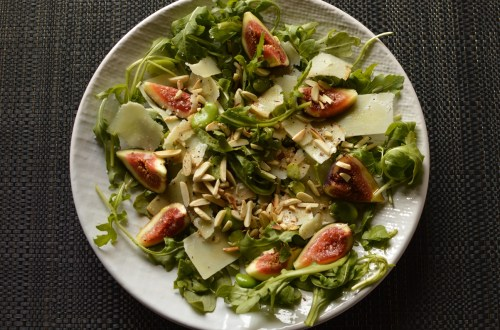 fig salad with broad beans and Pecorino