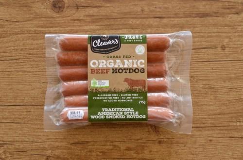 Cleaver's organic beef hotdog