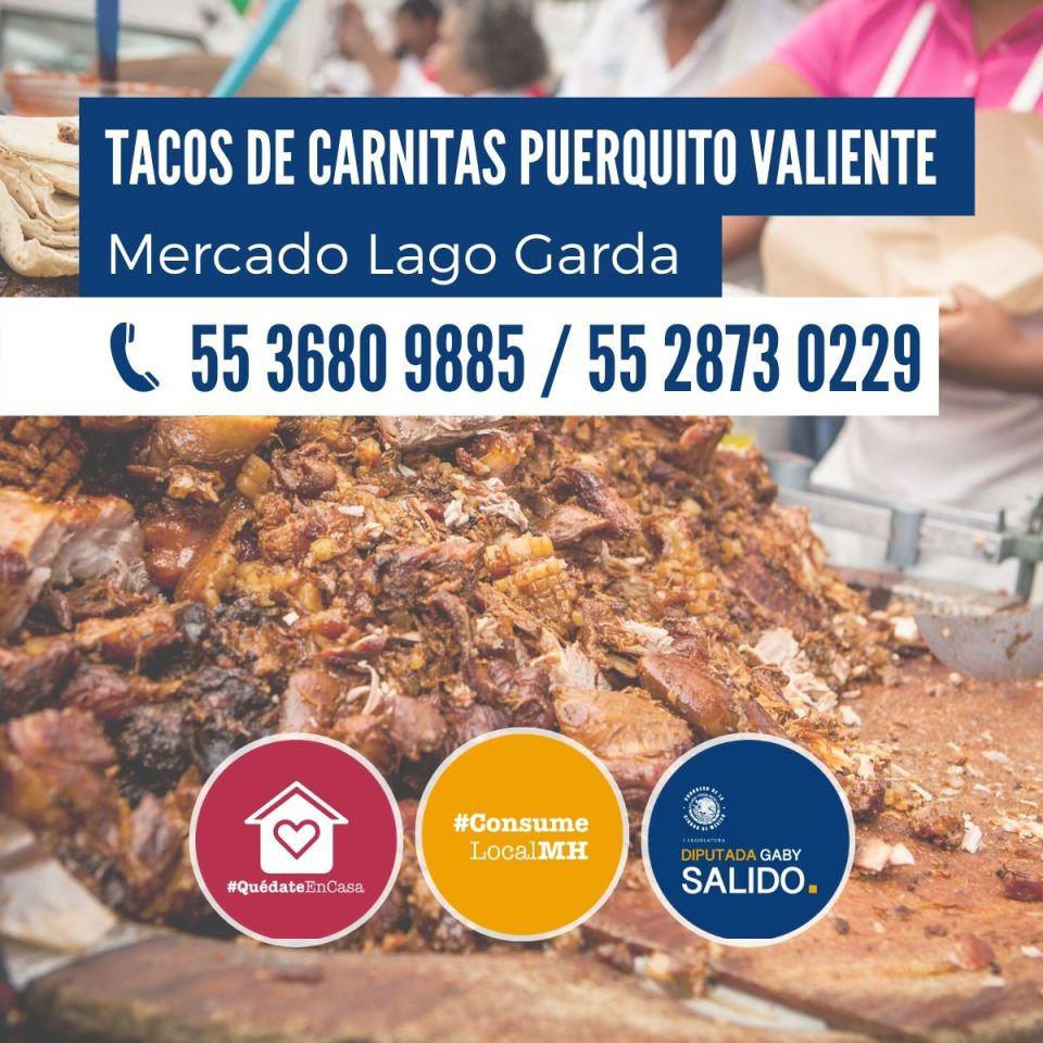 Tacos de carnitas Puerquito Valiente