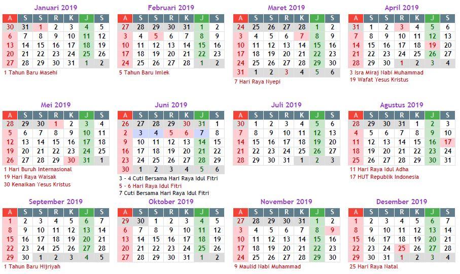 Kalender tahun 2019 - Rencanakan cuti dan liburan anda